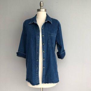 Cherokee denim button front shirt size XL